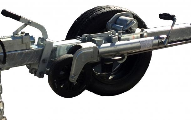 STEEL TRAILER BEACH LAUNCHING DROP DOWN WHEEL MOUNT INCLUDES 2 SETS OF NSK WHEEL BEARINGS